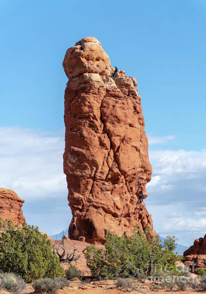Photograph - Climbers On Owl Rock At Arches National Park, Moab, Utah Usa.  by William Kuta