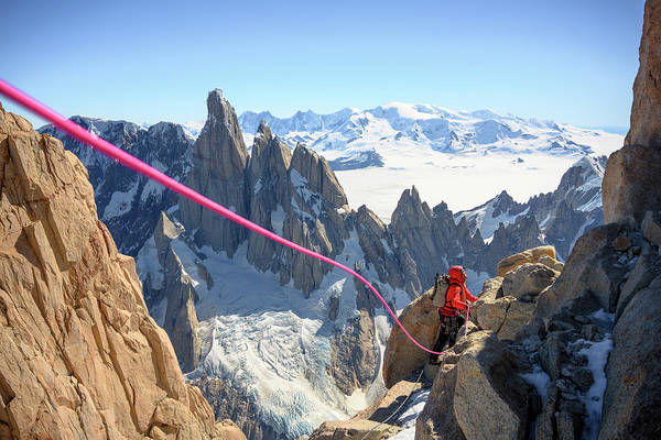 Photograph - Climbing Fitzroy by Ted Hesser