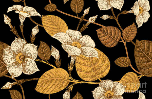 Gold Leaves Digital Art - Climbing Plant Ivy. Seamless Floral by Mamita