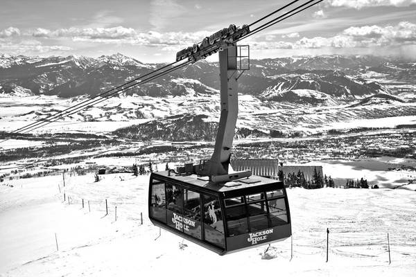 Photograph - Climbing To The Top Of Jackson Hole Black And White by Adam Jewell