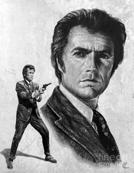 Wall Art - Drawing - Clint Eastwood Is Dirty Harry by Andrew Read