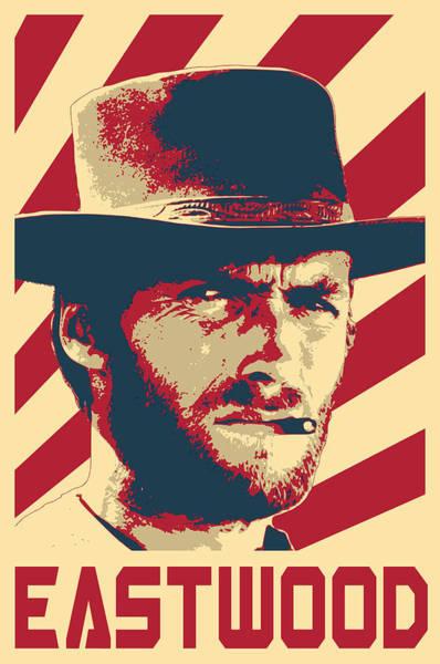 Propaganda Digital Art - Clint Eastwood Retro Propaganda by Filip Hellman