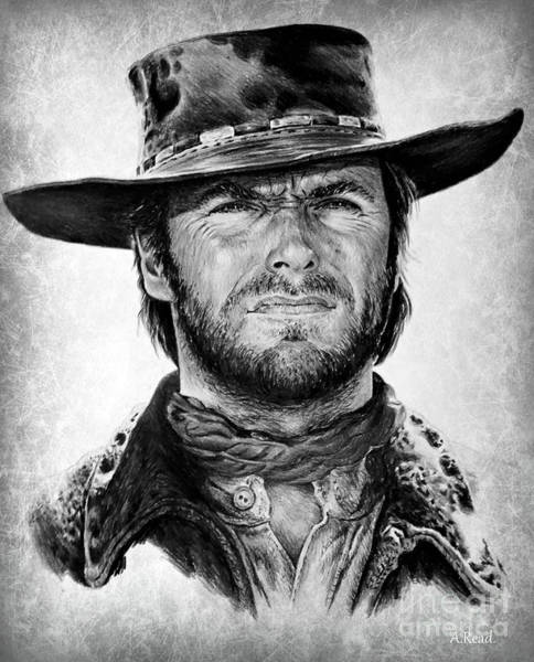 Clint Eastwood Drawing - Clint Portrait 1 by Andrew Read