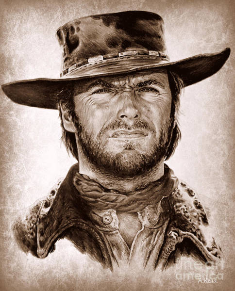 Clint Eastwood Drawing - Clint Portrait 2 by Andrew Read