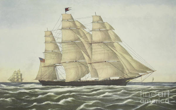 Wall Art - Painting - Clipper Ship, Flying Cloud, Published 1852 by Currier and Ives