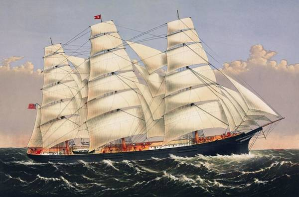 Wall Art - Painting - Clipper Ship Three Brothers, The Largest Sailing Ship In The World Published By Currier And Ives by Celestial Images
