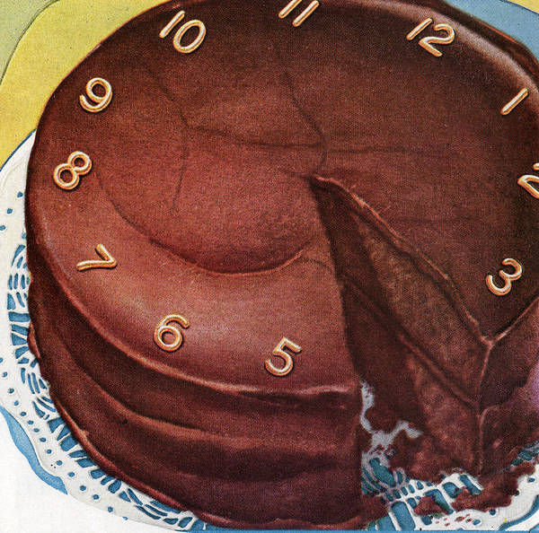 Wall Art - Digital Art - Clock Face On Chocolate Cake by Graphicaartis