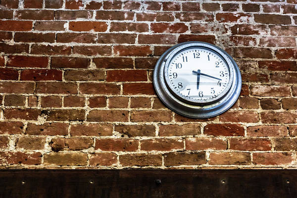 Photograph - Clock On A Brick Wall by Jeanette Fellows