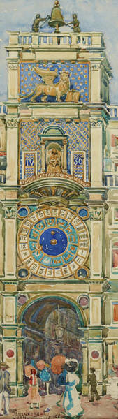 Wall Art - Painting - Clock Tower, Saint Marks Square, Venice - Digital Remastered Edition by Maurice Brazil Prendergast