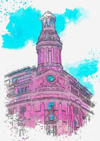 Painting - Clock Tower -  Watercolor By Adam Asar by Adam Asar