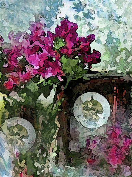 Mixed Media - Clocks And Flowers by Corinne Carroll