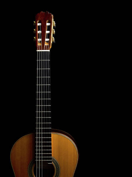 Acoustic Guitar Photograph - Close-up Of Acoustic Guitar On Black by Sabine Scheckel