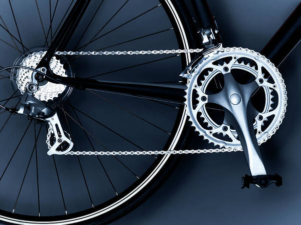 Chain Link Photograph - Close Up Of Bicycle Chain, Pedal And by Adam Gault