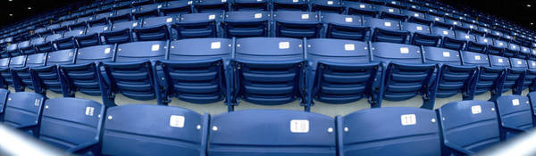 Wall Art - Photograph - Close-up Of Blue Empty Seats Of Shea by Panoramic Images