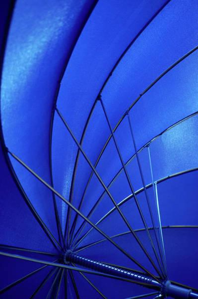 Bleached Photograph - Close-up Of Blue Umbrella by Fabrizio Cacciatore
