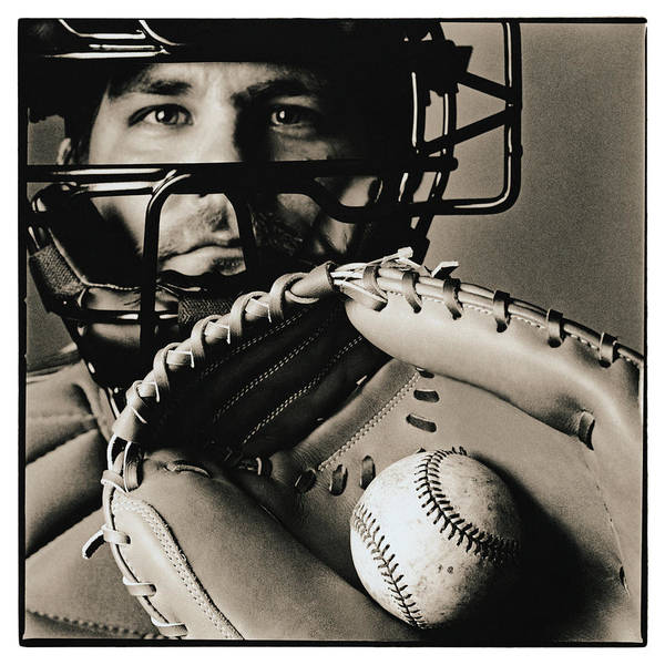 Baseball Photograph - Close-up Of Catcher by Anthony Saint James
