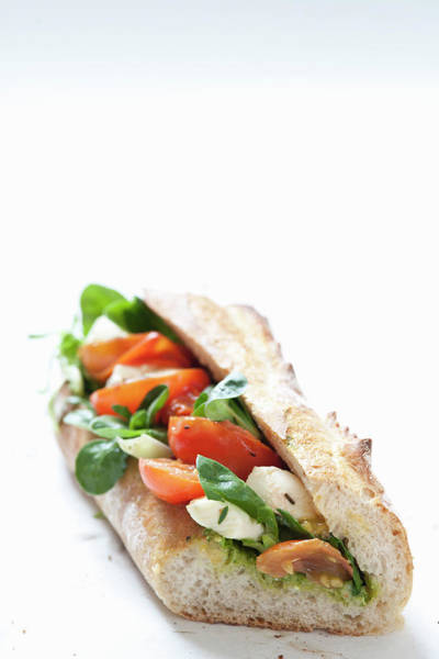 Buns Photograph - Close Up Of Cheese And Tomato Sandwich by Henn Photography