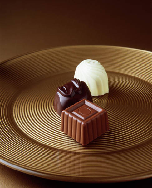 Food Photograph - Close Up Of Chocolates On Serving Tray by Diana Miller