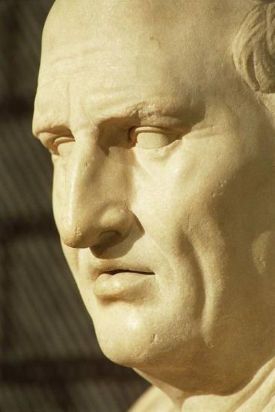 Public Speaker Photograph - Close Up Of Marble Face Of Marcus Tullius Cicero , Roman Civilization by Roman School