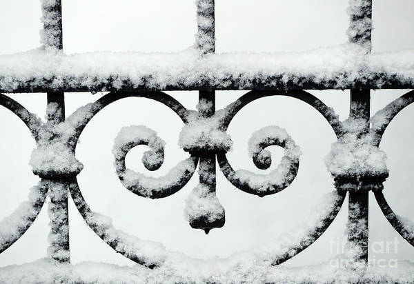 Wall Art - Photograph - Close Up Of Metal Gate With Snow, Saint Gervais, France by French School