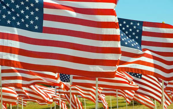 Celebration Photograph - Close-up Of Multiple U.s. Flags by Donovan Reese