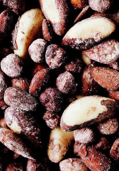 Vertical Line Photograph - Close Up Of Salted Nuts by Line Klein