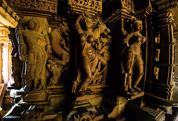Wall Art - Photograph - Close-up Of Statues, Khajuraho Temples by Panoramic Images