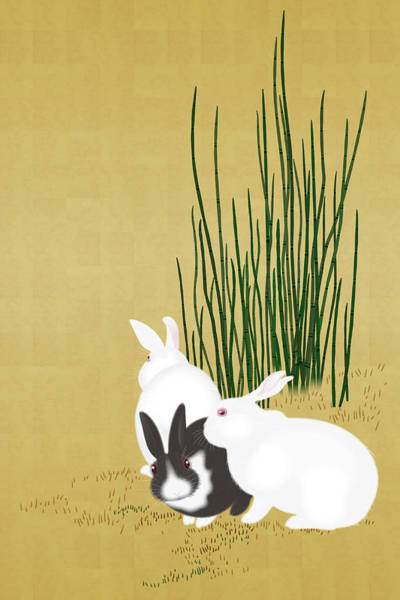 Beauty Of Nature Digital Art - Close-up Of Three Cute Rabbits by Imagewerks