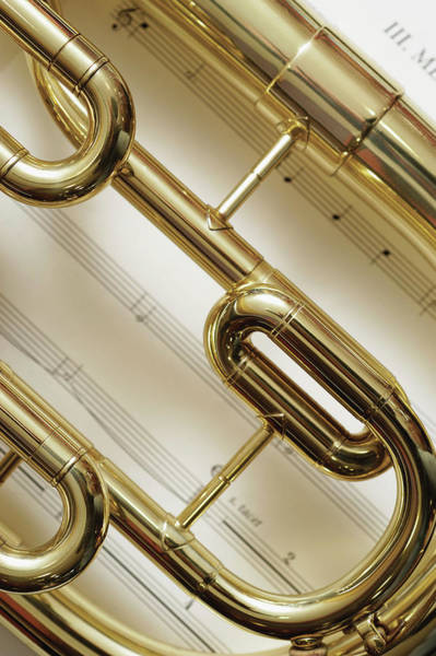 Wall Art - Photograph - Close-up Of Trumpet by Medioimages/photodisc