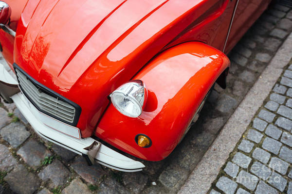 Wall Art - Photograph - Close-up Of Vintage Red Car Headlight by Alexander Spatari