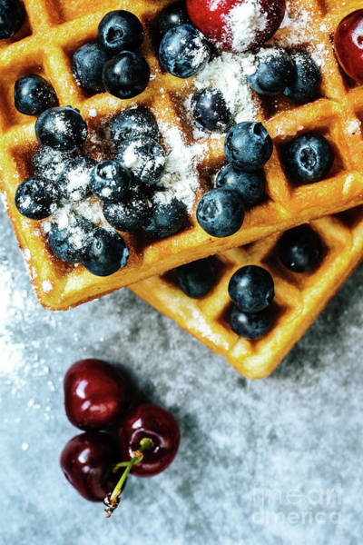 Photograph - Close-up Of Waffles With Tasty Fruits Cranberries, Cherries And  by Joaquin Corbalan