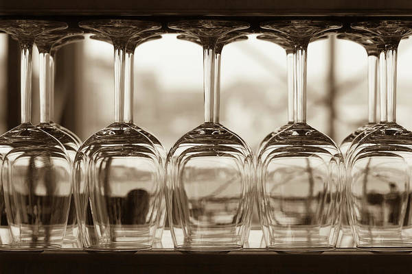 Bar Counter Photograph - Close-up Of Wine Glasses With Shallow by 77studio