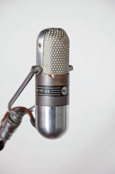 Microphone Photograph - Close-up Vintage Microphone On Stand by Laara Cerman/leigh Righton