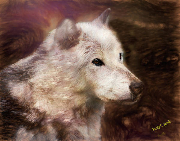 Digital Art - Close View Of Intense Stare Of A Timber Wolf. by Rusty R Smith