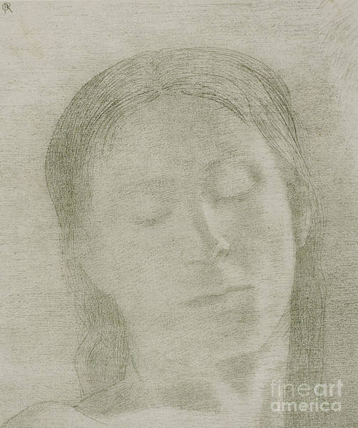 Wall Art - Drawing - Closed Eyes, 1890 By Odilon Redon by Odilon Redon
