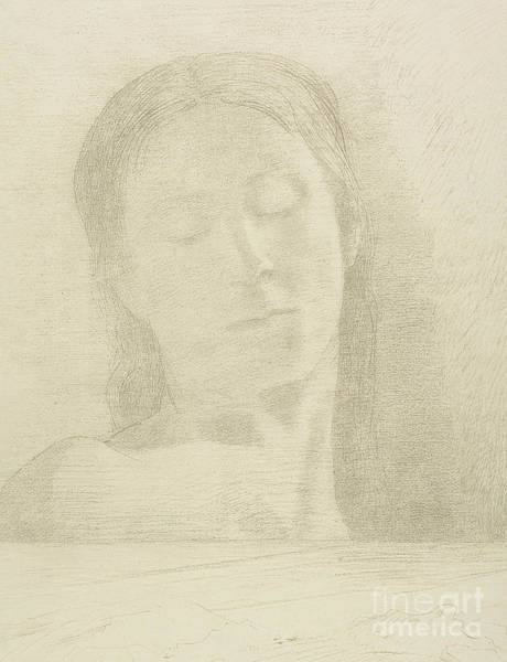 Wall Art - Drawing - Closed Eyes, 1890 Color Litho by Odilon Redon