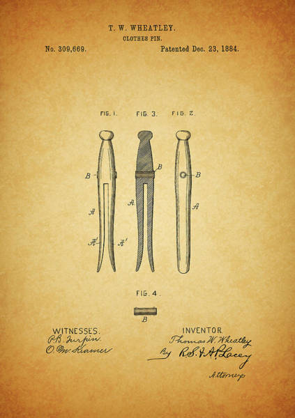 Dirty Drawing - Clothespin Patent by Dan Sproul