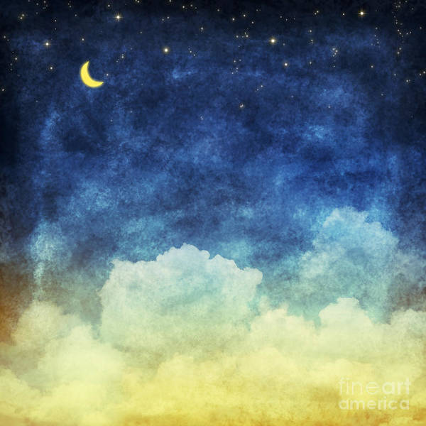 Wall Art - Digital Art - Cloud And Sky At Night ,yellow And Blue by Mr.lightman1975