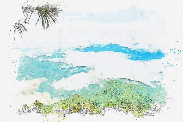 Painting - Cloud Forest, Phu Chi Fa Forest Park, Tap Tao, Thailand -  Watercolor By Adam Asar by Adam Asar