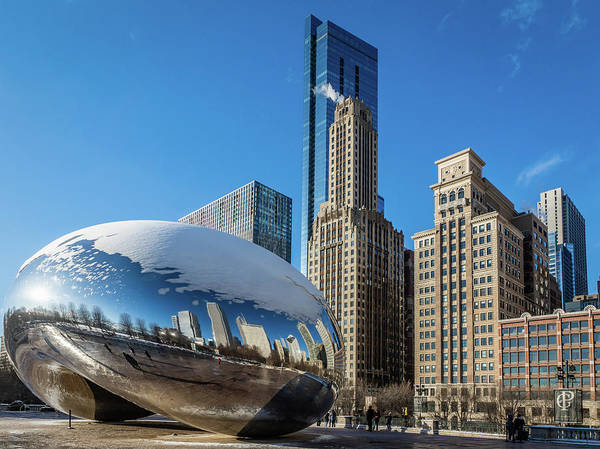 Photograph - Cloud Gate Reflection by Framing Places