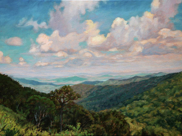 Wall Art - Painting - Cloud Shadows Dancing - Summertime View Skyline Drive by Bonnie Mason