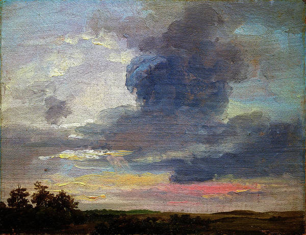 Wall Art - Painting - Cloud Study Over Flat Landscape - Digital Remastered Edition by Johan Christian Dahl