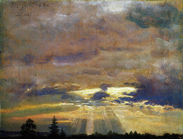 Wall Art - Painting - Cloud Study With Sunbeams - Digital Remastered Edition by Johan Christian Dahl