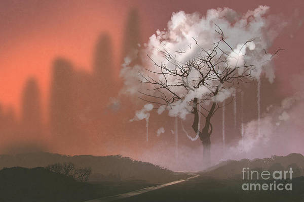 Wall Art - Digital Art - Cloud Tree,path To Heaven,illustration by Tithi Luadthong