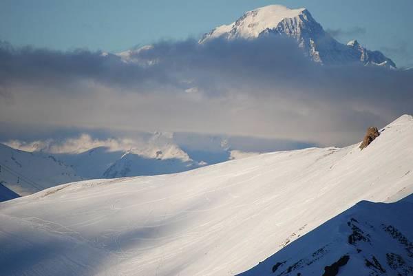Ski Tracks Wall Art - Photograph - Clouded Mountains by Bart Dubelaar