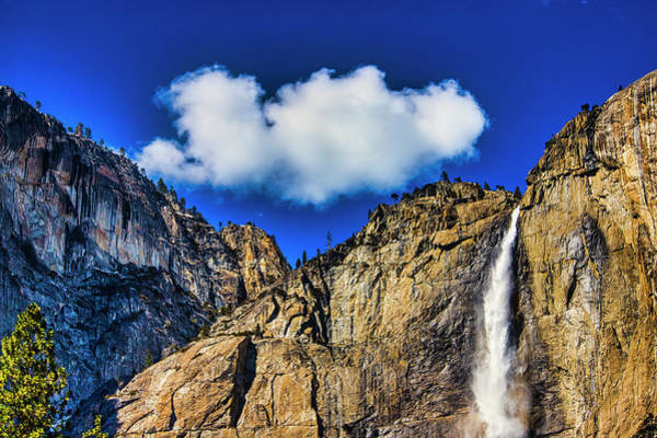 Wall Art - Photograph - Clouds Abover Upper Yosemite Fall by Garry Gay