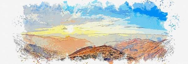 Painting - Clouds Atmosphere Great Beautiful Natural Life Sky -  Watercolor By Adam Asar by Adam Asar