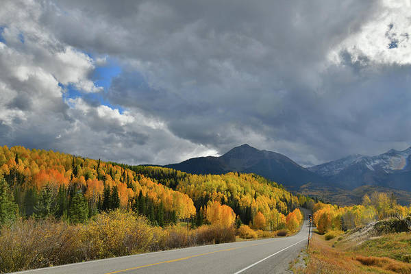 Photograph - Clouds Breaking Over Sunshine Mountain Light Golden Aspens by Ray Mathis