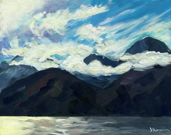 Photograph - Mountains With Stormy Clouds by Yulia Kazansky