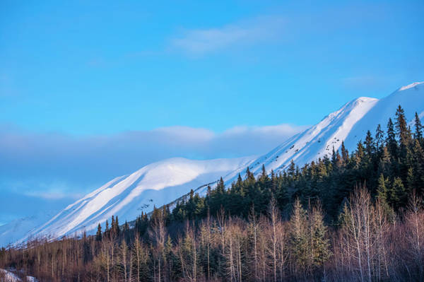 South Central Alaska Photograph - Clouds Over Mountain Tops As Daylight by Michael Jones